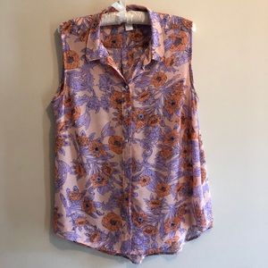 H&M Size 12 Floral Sheer Summer Tank Top Blouse